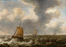 Cornelis Stooter, Sailing Ships in Rough Seas