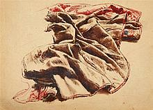 Franz Xaver Winterhalter, Drapery Study in Red & Brown