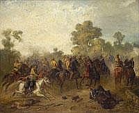 EUGEN ADAM 1817 München- 1880 München KÄMPFENDE