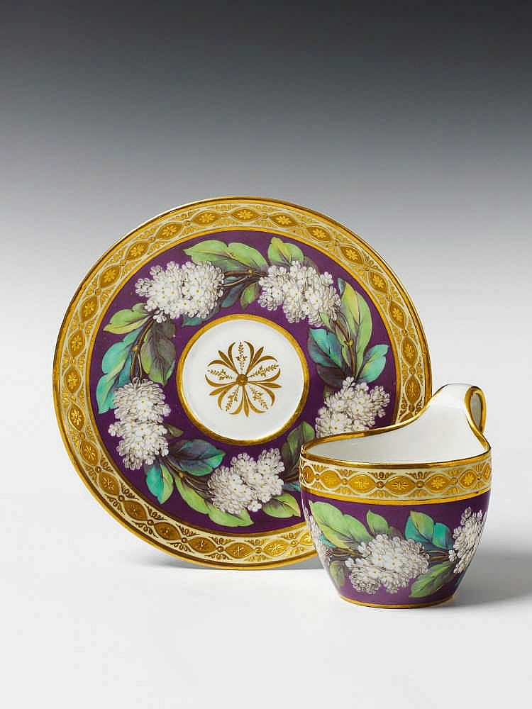 a berlin kpm porcelain cup and saucer with lilac flower and. Black Bedroom Furniture Sets. Home Design Ideas