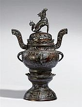 A large bronze incense burner. Late 19th century
