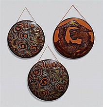 Three copper gongs. 20th century