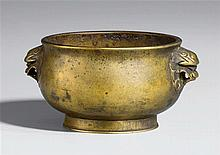 A small bronze incense burner. Qing dynasty, probably 17th century