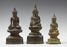 Three Burmese Shan bronze figures of Buddha Shakyamuni. 18th/19th century