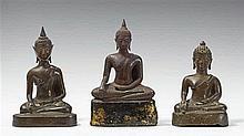 Three Thai bronze figures of Buddha seated in maravijaya. 16th/19th century