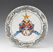 A sepia enameled armorial plate. Qianlong period (1735-1796)