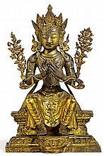 A rare and exquisite Sinotibetan or Mongolian gilt bronze figure of Maitreya. 17th/18th century