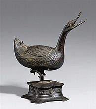 A bronze incense burner in shape of a duck. 16th/17th century