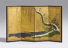 A small four-panel screen for the doll's festival. 18th/19th century