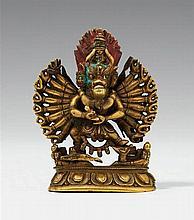 A Sinotibetan bronze figure of Vajrabhairava. 19th century