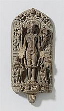 A Bengali gray stone stele of Vishnu. Pala dynasty, 12th century