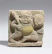 A possibly Arakan stone relief of a guardian figure. 19th century or earlier