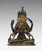 A Tibetan bronze figure of Avalokiteshvara. 17th century