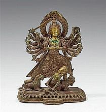 A Nepalese bronze figure of Durga Mahishasuramardini. 18th century