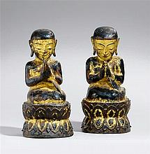 Two Burmese dry lacquer figures of monks or devotees. 19th century