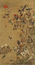 One hundred pairs of birds. Hanging scroll. Ink an