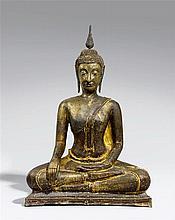 A very large Sukhothai bronze figure of Buddha in maravijaya.14th/15th century