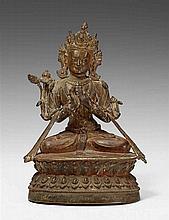 A Tibetan bronze figure of a bodhisattva. 15th/16th century