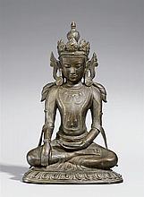 An Arakan bronze figure of a bejewelled Buddha Shakyamuni. 15th/16th century