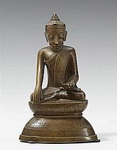 A Burmese bronze figure of a Lotus Buddha Shakyamuni. 18th century