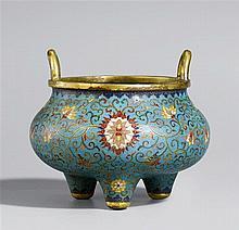A cloisonné enamel incense burner. 19th century