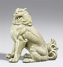 A celadon-glazed incense burner in shape of a koma inu. Early 20th century