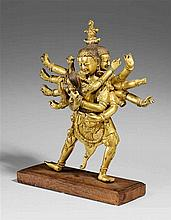 A Tibetan gilt bronze figure of Chakrasamvara in yab-yum. Possibly 19th century