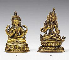 A Tibetan gilt bronze figure of Vajrasattva. 19th century