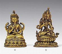 A Tibetan gilt bronze figure of Prajnaparamita. 19th century