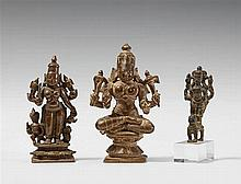 Three South Indian bronze figures of the four-armed Durga. 17th/19th century