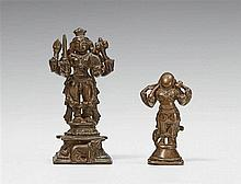 Two South Indian copper alloy figures of the four-armed Bhairava. 17th/19th century