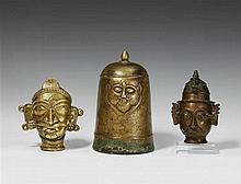 Three Maharashtra brass masks. 19th century
