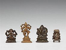 Four South Indian metal figures of the four-armed Ganesha. 17th/20th century