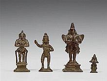 Four South Indian bronze figures of Hanuman and Garuda. 17th/19th century