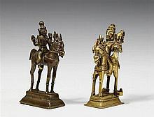 Two Maharashtra brass figures of Kandhoba und Malsa on horseback. 19th century