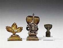 Three Maharashtra copper alloy naga objects. 19th century