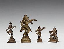Four South Indian bronze figures of the dancing Krishna. 16th/19th century