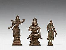 Two South Indian bronze figures of Rama and one of Sita. Possibly Karnataka. 17th/19th century
