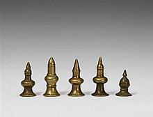 Five Karnataka/Maharashtra brass finials (rati) used for a Yellamma basket. 19h century