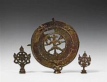 Three Maharashtra copper alloy staff finials. 19th century