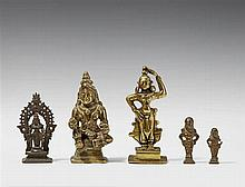 Five bronze figures of female deities. Southern India and other regions. 18th century and later