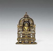 A Gujarati/Rajasthani brass shrine of Jain tirthankara Shreyansanatha. Dated 1524