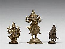 Three South Indian Shivaistic bronze figures. 17th/19th century