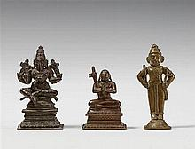 Three South Indian bronze figures. 19th century