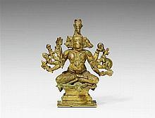 A possibly Uttar Pradesh bronze figure of panchamukha Hanuman. 18th century