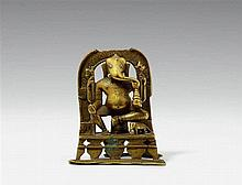A Gujarati/Rajasthani copper alloy figure of Ganesha. Dated 1458