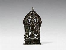 A Gujarati/Rajasthani copper alloy shrine of Ambika. Dated 1501
