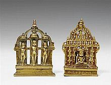 Two small Gujarati/Rajasthani brass shrines of Jain tirthankara. Dated 1629 and 1646