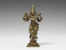 A South Indian copper alloy figure of the four-armed Krishna Venugopala. 19th/20th century