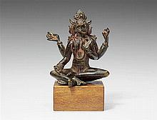 A South Indian bronze figure of Varahi. 16th/18th century or earlier